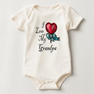 Macacãozinho Para Bebês Eu amo meu pirulito do coração do vovô