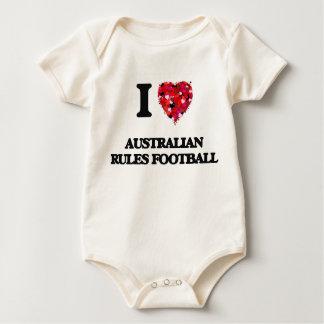 Macacãozinho Para Bebês Eu amo o futebol das regras do australiano
