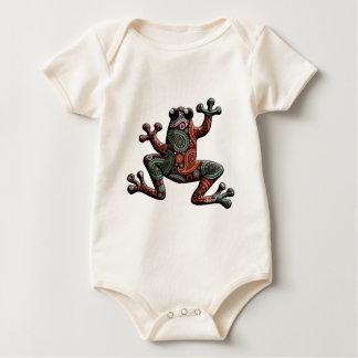 Macacãozinhos Para Bebê Sapo alaranjado de Paisley da cerceta