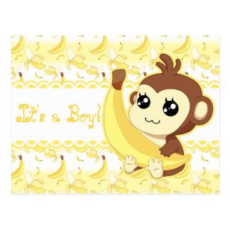 Macaco bonito de Kawaii do rosa do annoucement do Cartão Postal
