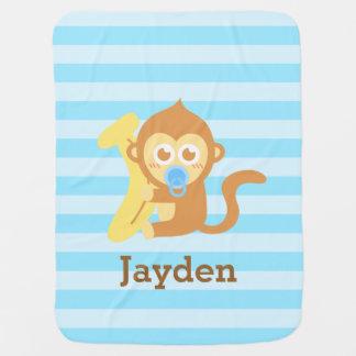 Macaco bonito do bebê com banana, para bebês cobertores de bebe