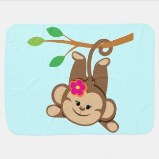 Macaco de balanço da menina cobertor de bebe