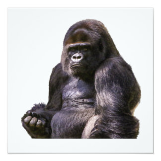 Macaco do macaco do gorila convite quadrado 13.35 x 13.35cm