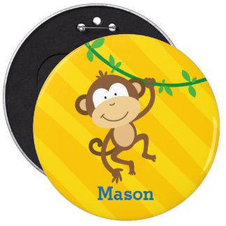 Macaco engraçado botão personalizado bóton redondo 15.24cm