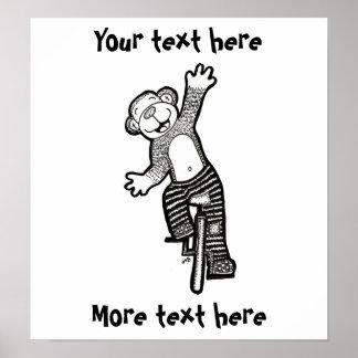 Macaco ilusório do Unicycle Poster