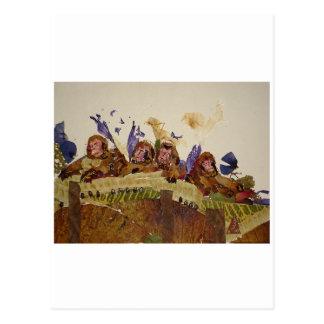 Macacos com fome no sótão cartao postal