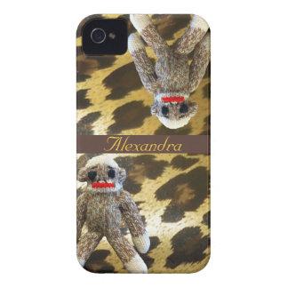 Macacos da peúga na pele feminino do leopardo capa iPhone 4