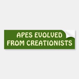 Macacos evoluídos dos criacionistas adesivo para carro