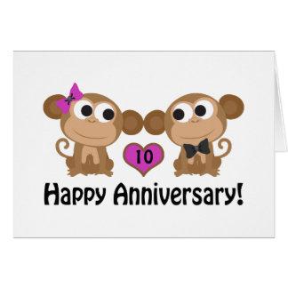Macacos felizes do aniversário cartão de nota