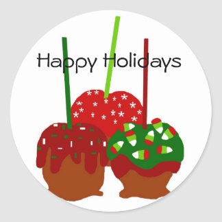 Maçãs do Natal, boas festas etiquetas Adesivos Redondos