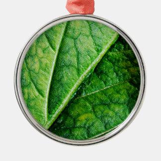 Macro da folha ornamento redondo cor prata