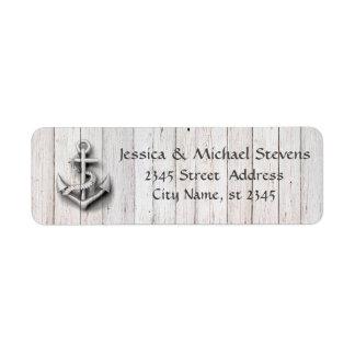 Madeira náutica da âncora do casamento chique etiqueta endereço de retorno