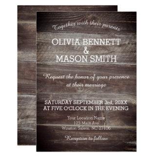 Madeira rústica elegante cartão de casamento