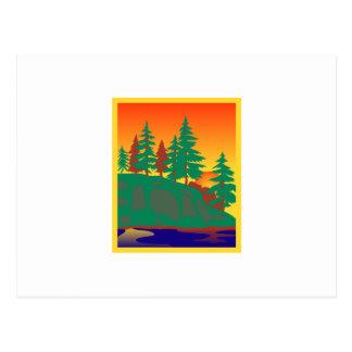 Madeiras & cena da água cartão postal
