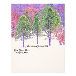 Madeiras das árvores de floresta que caminham papel timbrado