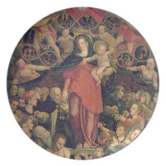 Madonna do rosário, c.1569 (óleo em canvas) louça de jantar