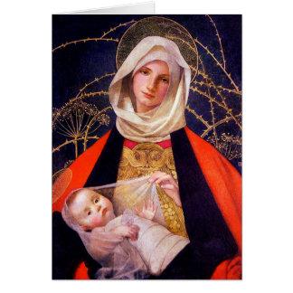 Madonna e bebê Swaddled Jesus Cartao