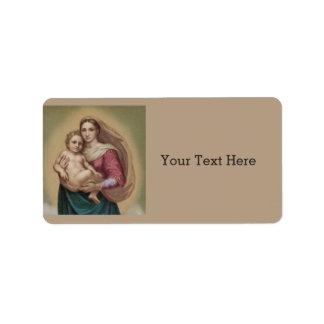 Madonna e criança etiqueta de endereço