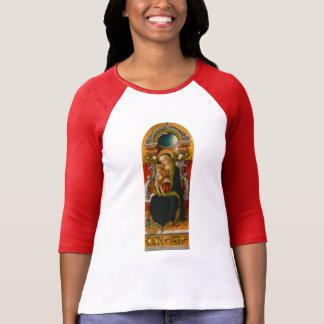 Madonna e t-shirt Enthroned criança do Raglan das