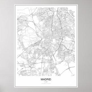 Madrid, poster minimalista do mapa da espanha pôster