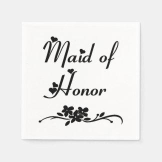 Madrinha de casamento clássica guardanapo de papel