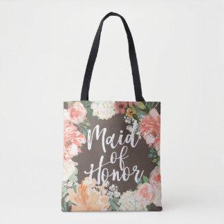 Madrinha de casamento floral da aguarela do bolsa tote
