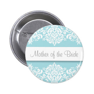 Mãe azul do damasco do botão da noiva bóton redondo 5.08cm