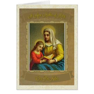 Mãe católica de St Anne do cartão de nota de Mary