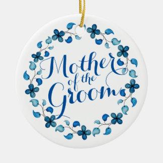Mãe do ornamento floral azul do casamento do noivo