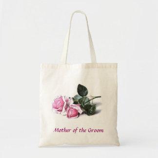 Mãe do saco dos rosas do rosa do noivo sacola tote budget