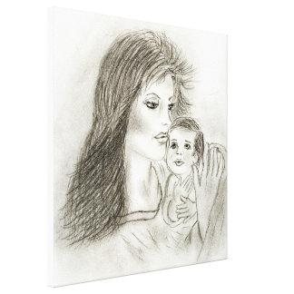 Mãe e criança impressão em tela