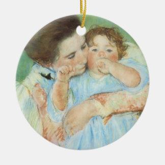 Mãe e criança por Mary Cassatt, belas artes do Ornamento De Cerâmica Redondo