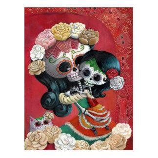 Mãe e filha de Diâmetro de Los Muertos Esqueleto Cartão Postal