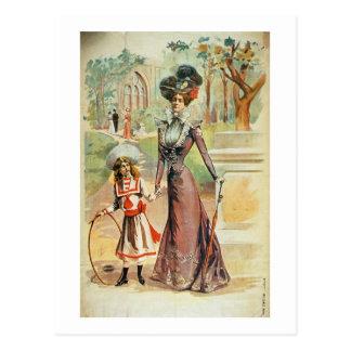 Mãe e filha em uma caminhada (litho da cor) cartão postal