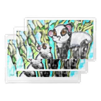 Mãe e filhote da panda bandeja de acrílico