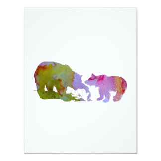 Mãe e filhote do urso convite 10.79 x 13.97cm