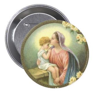 Mãe Mary do Virgin que beija os rosas de Jesus do Bóton Redondo 7.62cm