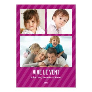 Magenta Triple carte de photo de vacances Convite 12.7 X 17.78cm