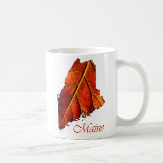 Maine Fall Foliage Orange Colored Leaf Mugs