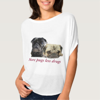Mais pugs menos drogas - 2 pugs camiseta