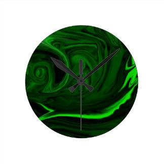 malaquite verde da textura relógio redondo