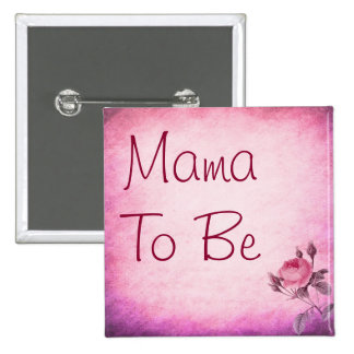 Mama a ser botão cor-de-rosa do chá de fraldas da bóton quadrado 5.08cm