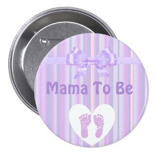 Mama a ser botão do chá de fraldas: Arco roxo Bóton Redondo 7.62cm