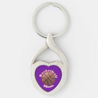 Mamã do basquetebol chaveiro coração torcido cor prata