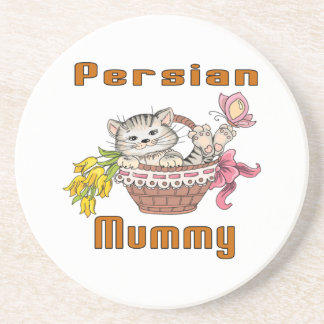 Mamã do gato persa porta-copos de arenito