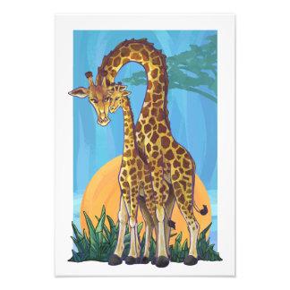 Mama e bebê do girafa impressão de foto