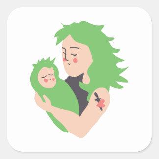 Mamã e bebê do punk adesivo quadrado
