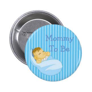 Mamães azuis a ser botão do chá de fraldas bóton redondo 5.08cm