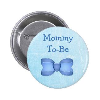 Mamães azuis do bebê do arco a ser botão do chá de bóton redondo 5.08cm
