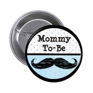 Mamães azuis do ponto & do bigode a ser botão do bóton redondo 5.08cm